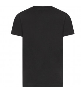 """MOSCHINO KIDS Black kids t-shirt with italian tricolor """"Moschino couture!"""""""