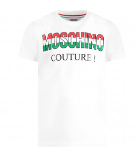 "MOSCHINO KIDS White kids t-shirt with italian tricolor ""Moschino couture!"""