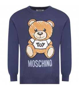 MOSCHINO KIDS Blue kids sweater with Teddy Bear and logo