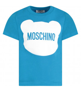 MOSCHINO KIDS Turquoise and black boy suit with Teddy Bear