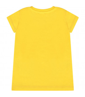 MOSCHINO KIDS Yellow girl maxi t-shirt with colorful logo
