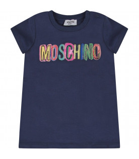 MOSCHINO KIDS Blue girl maxi t-shirt with colorful logo