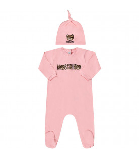 MOSCHINO KIDS Pink baby girl set with spotted logo and Teddy Bear