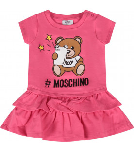 MOSCHINO KIDS Fuchsia baby girl dress with Teddy Bear with smartophone