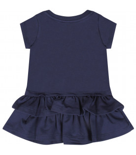 MOSCHINO KIDS Blue baby girl dress with Teddy Bear with smartophone