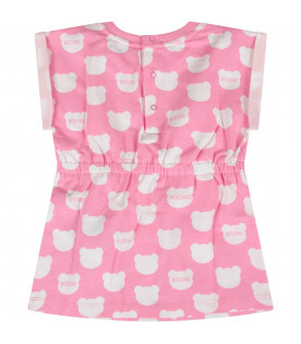 MOSCHINO KIDS Pink baby girl dress with all-over Teddy Bear print
