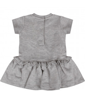 "MOSCHINO KIDS Melanged grey baby girl ""Moschino Milano"" dress"