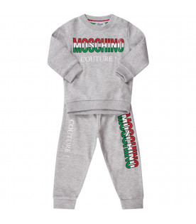 "MOSCHINO KIDS Melanged grey kids tracksuit with italian tricolor ""Moschino couture!"""