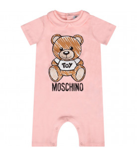 MOSCHINO KIDS Pink baby girl romper with Teddy Bear and logo