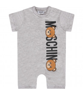 MOSCHINO KIDS Pink baby boy romper with logo and Teddy Bear