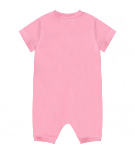 MOSCHINO KIDS Pink baby girl romper with logo and Teddy Bear