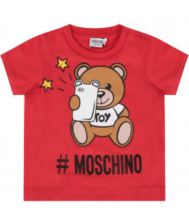 MOSCHINO KIDS Red t-baby shirt with Teddy Bear with smartophone