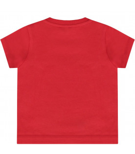 Red t-baby shirt with Teddy Bear with smartophone
