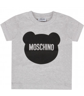 MOSCHINO KIDS Melanged grey baby boy t-shirt with black Teddy Bear and logo