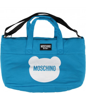 MOSCHINO KIDS Turquoise baby boy changing bag with Teddy Bear