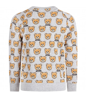 MOSCHINO KIDS Grey kids sweatshirt with all-over Teddy Bears
