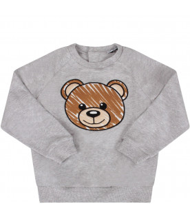 MOSCHINO KIDS Grey baby kids sweatshirt with colorful Teddy Bear