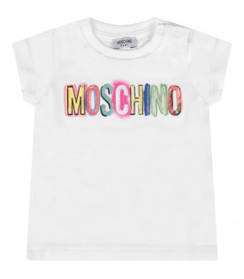 MOSCHINO KIDS White girl maxi t-shirt with colorful logo