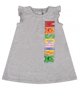 MOSCHINO KIDS Grey babygirl dress  with colorful logo and Teddy Bears