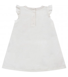 MOSCHINO KIDS White babygirl dress  with colorful logo and Teddy Bears
