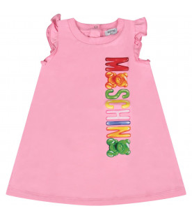 MOSCHINO KIDS Pink babygirl dress  with colorful logo and Teddy Bears