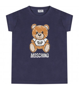 MOSCHINO KIDS Blue babykids T-shirt with Teddy Bear