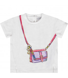 MOSCHINO KIDS White girl T-shirt with colorful bag