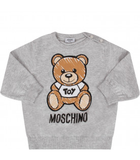 MOSCHINO KIDS Grey babykids sweater with colorful Teddy Bear
