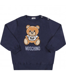 MOSCHINO KIDS Blue babykids sweater with colorful Teddy Bear