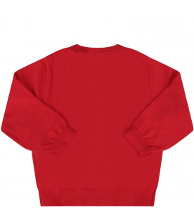 MOSCHINO KIDS Red babykids sweater with colorful Teddy Bear
