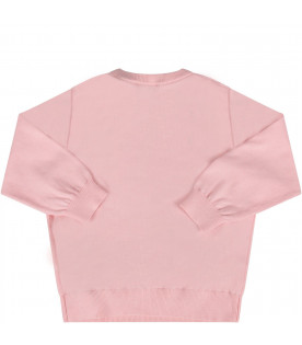 MOSCHINO KIDS Pink babygirl sweater with colorful Teddy Bear