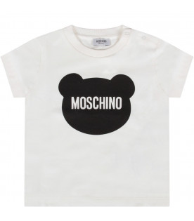 MOSCHINO KIDS Ivory baby boy t-shirt with black Teddy Bear and logo