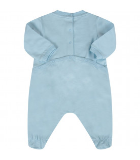 MOSCHINO KIDS Pale blue baby boy babygrow with logo and Teddy Bear