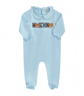 MOSCHINO KIDS Light blue baby boy set with logo and Teddy Bear