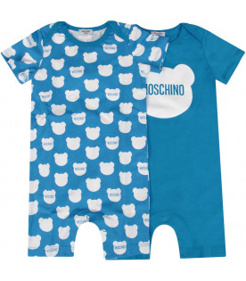 MOSCHINO KIDS White and turquoise set with logo and Teddy Bear