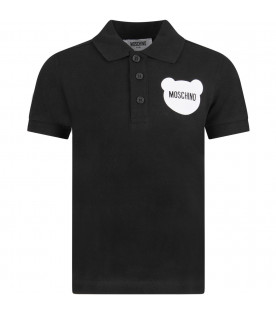 MOSCHINO KIDS Black boy polo shirt with white Teddy Bear