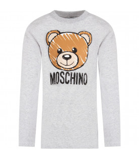 MOSCHINO KIDS Melanged grey kids t-shirt with Teddy Bear
