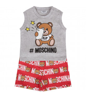 MOSCHINO KIDS Grey and red babyboy set with Teddy Bear