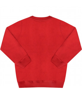 MOSCHINO KIDS Red baby sweatshirt with black Teddy Bear and logo
