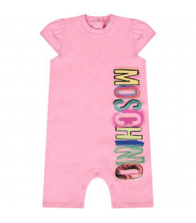 MOSCHINO KIDS Pink baby girl romper with colorful logo