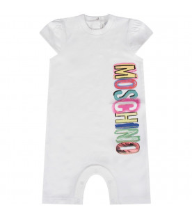 MOSCHINO KIDS White baby girl romper with colorful logo