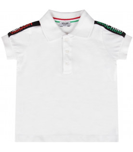 MOSCHINO KIDS White and black babyboy set with green, white and red logo