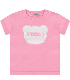 MOSCHINO KIDS Pink baby girl t-shirt with white Teddy Bear and logo