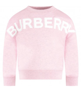 BURBERRY KIDS Pink girl sweatshirt with white logo