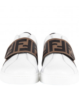 FENDI KIDS White kids sneaker with iconic double FF