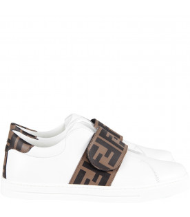 White kids sneaker with iconic double FF