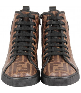FENDI KIDS Brown boy high sneaker with double FF