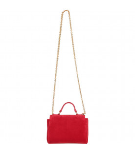 Red girl bag with rhinestoned logo