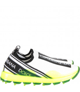 DOLCE & GABBANA KIDS White kids slip-on with neon yellow sole
