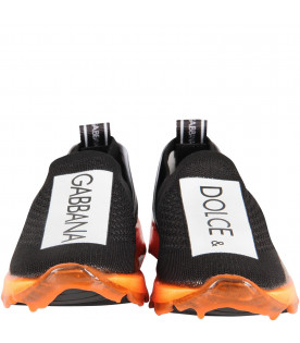 DOLCE & GABBANA KIDS Black kids slip-on with neon orange sole